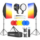 Kit de iluminare Softbox 2x Panou + 6 filtre de culoare, Neewer