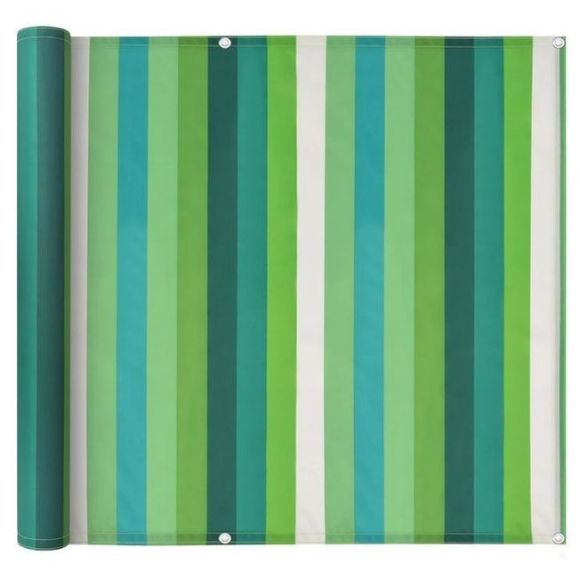 Prelată balcon, material Oxford, 75x400 cm, dungi verzi