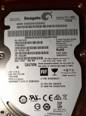 HDD SATA Hard disk Laptop  500gb Seagate ST500LM021 7200rpm 32MB Subtire foto