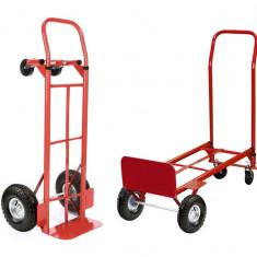 Carucior Metalic Pliabil 2-in-1 pentru Transport Marfa, 4 Roti, Capacitate 250kg, Culoare Rosu