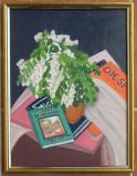 Tablou Ramuri de salcam-Natura statica,pictat,culori acrilice, 44x34 cm, Acrilic, Realism