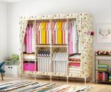 Dulap haine, cu husa detasabila, cadru lemn, model Crem cu Floricele rosii