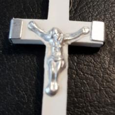 Cruciulita alba din plastic cu metal pe spate inscriptionat Jerusalem