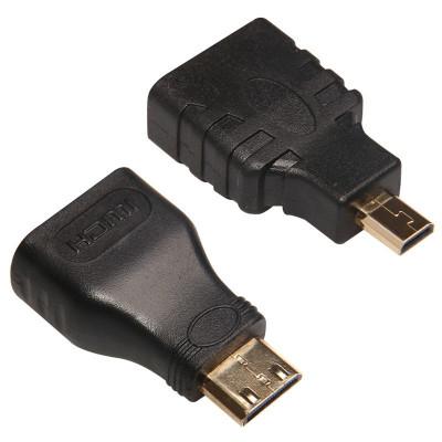 Pachet Adaptor mini HDMI tata la HDMI mama + micro HDMI tata - HDMI mama, aurite foto