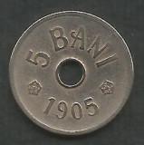ROMANIA  5  BANI 1905  [2]  VF+ ,  livrare  in cartonas