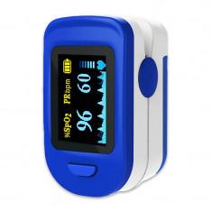 Pulsoximetru RedLine FS20C, indica nivelul de saturatie a oxigenului, masoara rata pulsului, Alb/Albastru