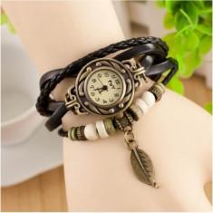 Ceas de dama Retro Vintage, curea din piele, accesoriu frunza, Negru