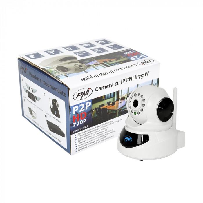 Resigilat : Camera cu IP PNI IP751W 720P P2P, PTZ, slot card, wireless, email, FT