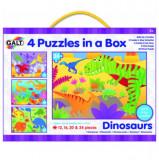 Set 4 puzzle-uri Dinozauri (12, 16, 20, 24 piese), Galt