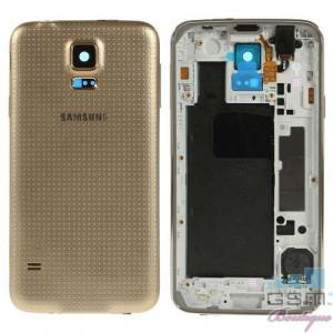 Carcasa Spate Samsung Galaxy S5 G900 Cu Corp Mijloc Si Capac Baterie Originala Aurie