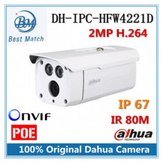 Camera supraveghere exterior IP Dahua IPC-HFW4221D-AS, 2 MP, IR 80 m, 6 mm