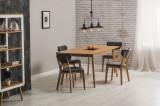 Cumpara ieftin Set masa extensibila din MDF si lemn Felicio Oak + 4 scaune Andre Grey, L150-190xl90xH75 cm