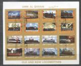 Umm al Qiwain 1973 Trains, mini imperf.sheetlet, used T.016