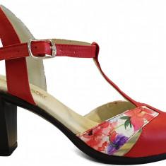 Sandale dama elegante cu toc Ninna Art 142 rosu