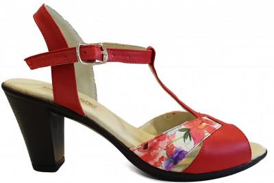 Sandale dama elegante cu toc Ninna Art 142 rosu foto