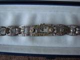 Ceas Doxa Dama, sec XX Art Nouveau-Art Deco, Aur Alb masiv Diamante GEMSTONES