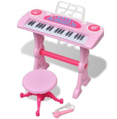 Orgă pentru copii cu scaun/microfon, 37 Clape, Roz foto