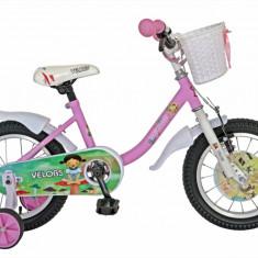 Bicicleta copii 14 FIVE Munna cadru otel culoare roz alb roti ajutatoare varsta 3 5 ani
