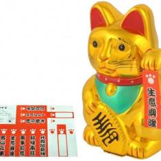 Figurina Pisica Norocoasa Maneki Neko, Simbol de Noroc si Prosperitate, 15cm, auriu
