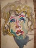 Cumpara ieftin Tablou vechi portret, acuarela, 36 x 22, fara rama, semnat, original, Portrete, Realism
