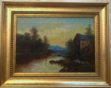 Peisaj olandez semnat W. Brouk, Peisaje, Ulei, Altul
