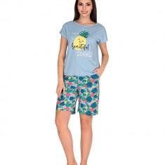 Pijama femei mineca scurta 3194 Albastru M