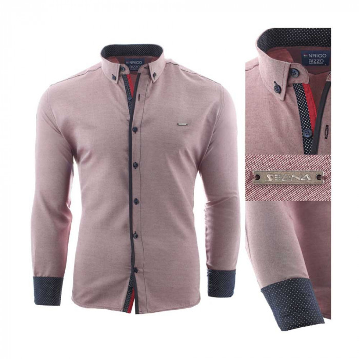Camasa pentru barbati, slim fit, rosu deschis, casual, cu guler - enrico rizo sedna willow