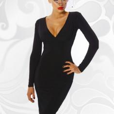 Rochie de seara sexy, de culoare neagra, cu maneca lunga, S, XL, XS, Negru