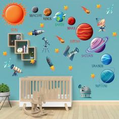 Set 39 Stickere copii - Planete2 60x90cm plansa, STKWAC0005