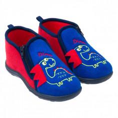 Botosi de casa imblaniti, model Dinozaur, marime 24, albastru/rosu