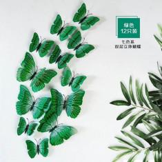 Fluturi 3D magnet, dubli, decoratiuni casa, evenimente, 12 bucati, verde, A25