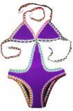 SW1681-11 Costum de baie intreg din neopren cu margini cusute, O piesa, M, XXL