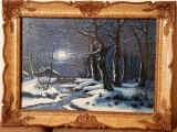 Gobelen - Peisaj de iarna - Rama Blondel sticla - tablou manufactura - pas mic