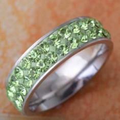 Inel titan Green Crystal marime 8US