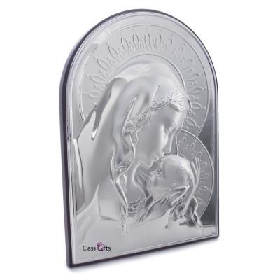Icoana Argintata Maica Domnului si Pruncul 9.5x13.5cm Cod Produs 325 foto