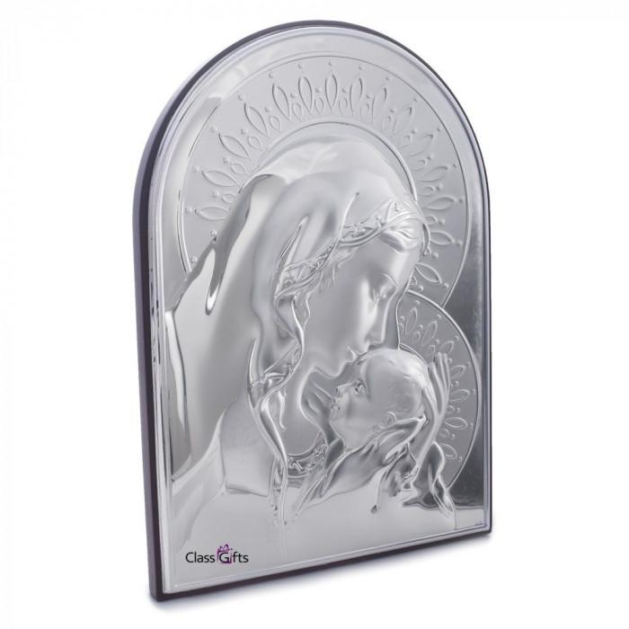 Icoana Argintata Maica Domnului si Pruncul 9.5x13.5cm Cod Produs 325