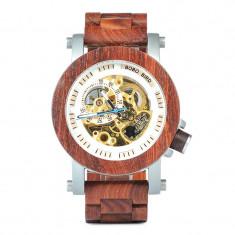 Ceas din lemn Bobo Bird mecanic, curea din lemn, K12 Wooden Lux