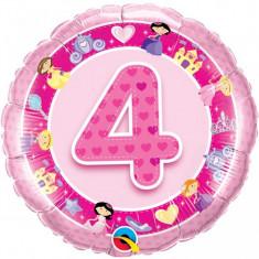 Balon roz 4 ani din folie cu printese 43cm