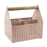 Cutie depozitare, 15 x 20 x 20 cm, metal/lemn, Roz, General