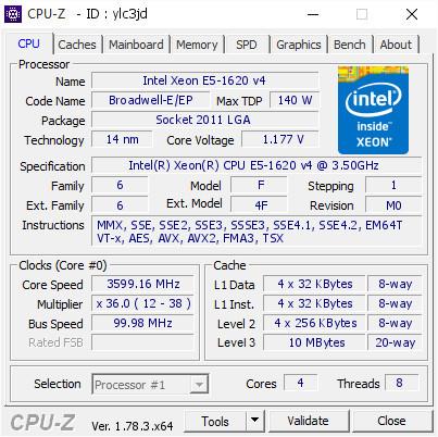 Procesor Workstation Intel Xeon E5-1620 v4 3.5-3.8 GHz Socket 2011-V3 Bulk DDR4