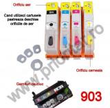 Set 4 cartuse reincarcabile pt HP903 refilabile HP 903XL HP Officejet PRO 6950