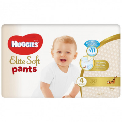 Scutece chilotel Huggies Elite Soft Pants Giga Pack Nr.4, 9-14 kg, 56 buc foto