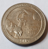 Monedă 25 cents / quarter 2015, Saratoga New York, litera D, America de Nord