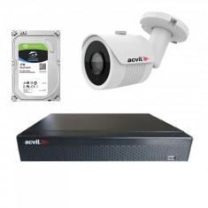 Kit de supraveghere cu 1 camera Acvil AHD EF30 4K 8 MP IR 20 m 2.8 mm + DVR AHD Acvil XVR5104 4K 4 canale 8 Mp + Hard Disk Seagate Skyhawk ST1000VX001