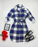 Cumpara ieftin Rochie ieftina casual stil camasa bleumarin cu gri si alb cu carouri si cordon in talie