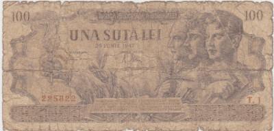 ROMANIA 100 LEI 25 IUNIE 1947 UZATA foto