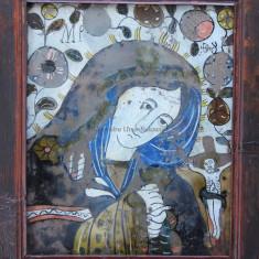 """Sf. Maria, Icoană """"Nicula"""" pictată pe sticlă (glajă)"""