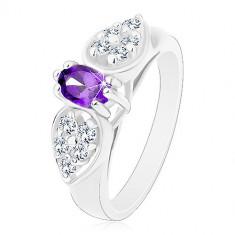 Inel cu brațe late, fundă din zirconiu transparent cu oval violet - Marime inel: 52
