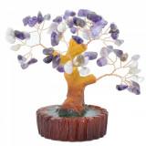 Copac decorativ pe suport ceramic cu pietre naturale ametist