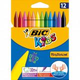 Cumpara ieftin Creioane Cerate Plastifiate BIC Plastidecor, 12 Buc/Set, Culori Asortate, Creioane de Colorat, Creion Colorat Cerat, Set Creioane Cerate Plastifiate B